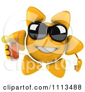 Clipart 3d Sun Character With Shades And Tea 2 Royalty Free CGI Illustration