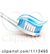 Clipart 3d Tooth Brush With Sparly Blue Gel Paste On The Bristles Royalty Free Vector Illustration