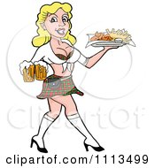 Clipart Sexy Blond Breastaurant Waitress In A Skirt Carrying Beer And Fries Royalty Free Vector Illustration by LaffToon