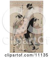 The Courtesan Shinateru Of The Okamoto Ya Clipart Picture