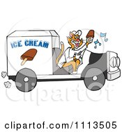 Ginger Cat Holding A Fudgesicle And Driving An Ice Cream Truck