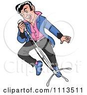Retro Rockabilly Man Musician Singing