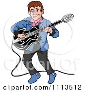 Clipart Retro Rockabilly Musician Man Playing A Guitar Royalty Free Vector Illustration by LaffToon