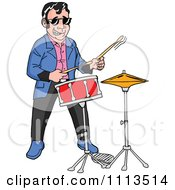 Retro Rockabilly Musician Man Playing The Drums