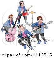 Clipart Retro Rockabilly Music Band Singing And Playing The Bass Drums And Guitar Royalty Free Vector Illustration