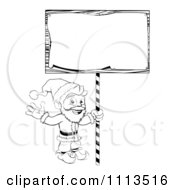 Clipart Outlined Santa Waving And Holding Up A Christmas Sign Royalty Free Vector Illustration