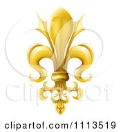 Clipart 3d Ornate Gold Fleur De Lis Lily Symbol Royalty Free Vector Illustration