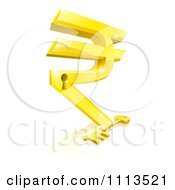 Clipart 3d Gold Rupee Symbol Lock And Skeleton Key With A Reflection Royalty Free Vector Illustration by AtStockIllustration