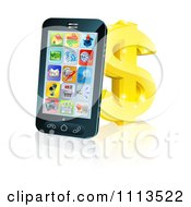Clipart 3d Cell Phone Leaning On A Golden Dollar Symbol Royalty Free Vector Illustration