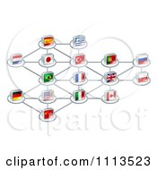 Network Of 3d National Flags
