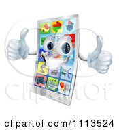 Clipart 3d Cell Phone Mascot Holding Two Thumbs Up Royalty Free Vector Illustration