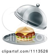 Clipart 3d Thick Cheeseburger On A Platter Royalty Free Vector Illustration