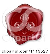 Clipart Red Wax Seal Stamped With A Fleur De Lis Symbol Royalty Free Vector Illustration