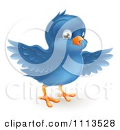 Clipart Cute Bluebird With Open Wings Royalty Free Vector Illustration by AtStockIllustration