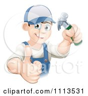 Clipart Happy Handy Man Holding A Hammer And Thumb Up Royalty Free Vector Illustration