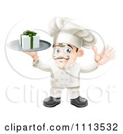 Clipart Happy Chef Holding A Gift Box On A Platter Royalty Free Vector Illustration by AtStockIllustration