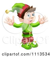 Clipart Happy Male Christmas Elf With Open Arms Royalty Free Vector Illustration by AtStockIllustration
