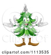 Clipart Happy Christmas Or Evergreen Tree Mascot Royalty Free Vector Illustration