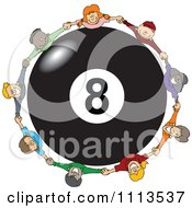 Diverse Happy Children Holding Hands Around A Billiards 8 Ball