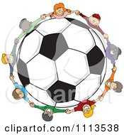 Diverse Children Holding Hands Around A Soccer Ball