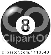 Clipart Light Shining Off Of A Black And White Billiards 8 Ball Royalty Free Vector Illustration by djart