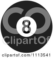 Clipart Black And White Billiards 8 Ball Royalty Free Vector Illustration by djart