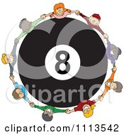 Diverse Children Holding Hands Around A Billiards 8 Ball