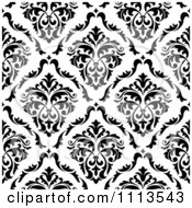 Clipart Black And White Triangular Damask Pattern Seamless Background 25 Royalty Free Vector Illustration
