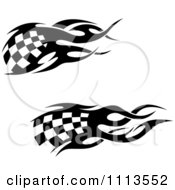 Clipart Black And White Tribal Checkered Racing Flags 6 Royalty Free Vector Illustration