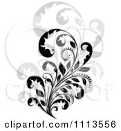Clipart Black Floral Scroll Over Gray 2 Royalty Free Vector Illustration by Vector Tradition SM