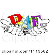 Clipart Black And White Hands Holding Words And Colorful PEACE Royalty Free Vector Illustration
