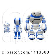 Clipart 3d Blueberry Ao Maru And Rogi Robots Standing Facing Front Royalty Free CGI Illustration