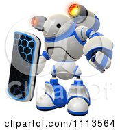 Clipart 3d Rogi Robot Facing With A Shield And Jet Pack 2 Royalty Free CGI Illustration