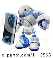 Clipart 3d Rogi Robot With A Shield Royalty Free CGI Illustration