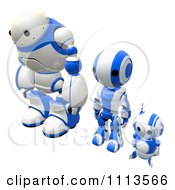 Clipart 3d Blueberry Ao Maru And Rogi Robots Standing Alert Royalty Free CGI Illustration