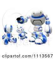 Clipart 3d Blueberry Ao Maru And Rogi Robots Hanging Out Royalty Free CGI Illustration