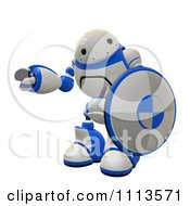 Clipart 3d Rogi Robot Holding A Shield 2 Royalty Free CGI Illustration