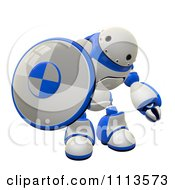 Clipart 3d Rogi Robot Holding A Shield 1 Royalty Free CGI Illustration