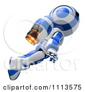 Clipart 3d Ao Maru Robot Flying With A Jet Pack 1 Royalty Free CGI Illustration