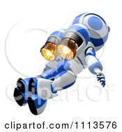 Clipart 3d Ao Maru Robot Flying With A Jet Pack 2 Royalty Free CGI Illustration
