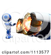 Clipart 3d Ao Maru Robot Warming Up By A Rocket Royalty Free CGI Illustration