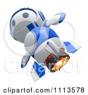 3d Blueberry Rocket Robot Flying