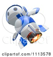 Clipart 3d Blueberry Rocket Robot Flying Royalty Free CGI Illustration
