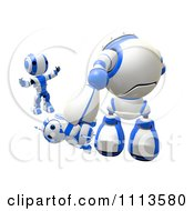 Clipart 3d Ao Maru Shouting At A Bully Bot Beating Up A Blueberry Robot- Royalty Free Cgi Illustration