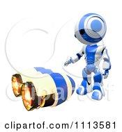 3d Ao Maru Robot Standing Over A Jet Pack