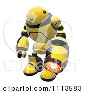 Clipart 3d Hornet Fire Robot With A Flame Thrower Arm 2 Royalty Free CGI Illustration