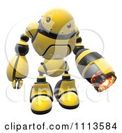 Clipart 3d Hornet Fire Robot With A Flame Thrower Arm 3 Royalty Free CGI Illustration