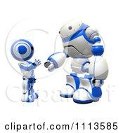 Poster, Art Print Of 3d Rogi Robot And Ao Maru Shaking Hands