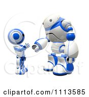 Clipart 3d Rogi Robot And Ao Maru Shaking Hands Royalty Free CGI Illustration