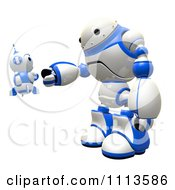 Poster, Art Print Of 3d Blueberry Robot Shaking Hands With A Large Bot